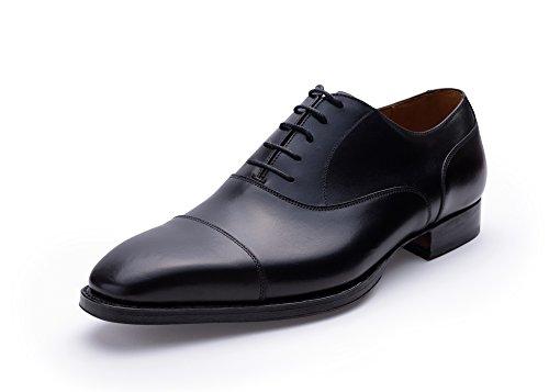 Andrew Lock Handgrade Zwarte Captoe Oxford Goodyear Welted Schoenen