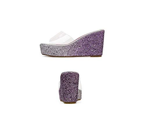 soled Casuale Purple Tendine Pantofole Spessa Donne scivolo Ghfjdo Wedge Fondo Anti Drag Alto Parola Pantofole Sandali E Tacco qvgIn