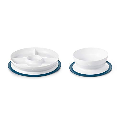 OXO Tot Stick & Stay Suction Divided Plate & Bowl Bundle - Navy