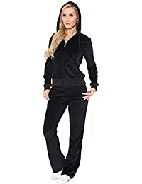 New Women Velour Hoodie Track suit Jacket Sweat Pants Set Sports Yoga Gym Black