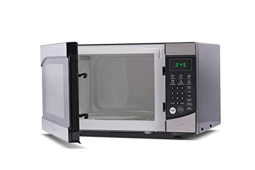 Westinghouse WM009 900 Watt Counter Top Microwave Oven, 0.9 Cubic Feet, Stainless Steel Front with Black Cabinet