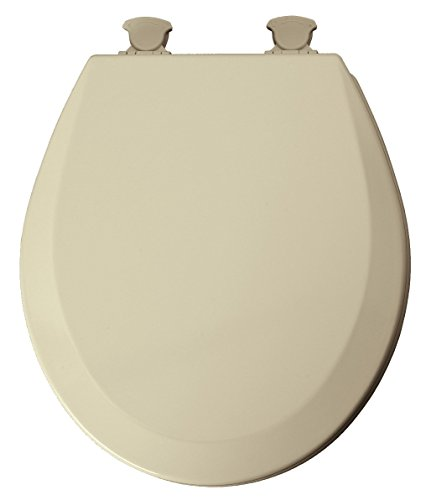 Mayfair Round Toilet Seat Beveled Wood, Molded, Premium Durable Multi Coat Enamel Bone ()
