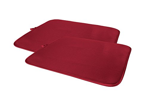Cuisinart Ultra Absorbent Reversible Dish Drying Mat, 100% Polyester, 16 in x 18 in, Crimson Red, ()