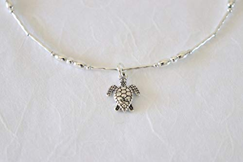 Sea Turtle Sterling Silver Anklet Beach Wedding Bridesmaid Gift Friend Nautical