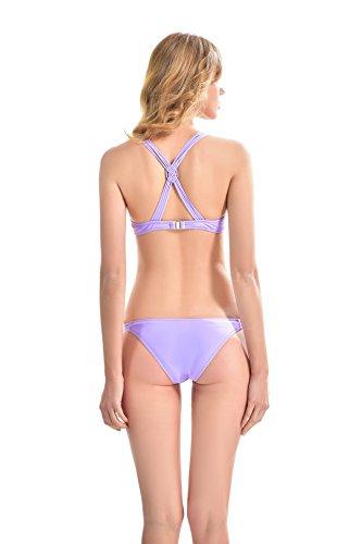Yvonnelee Damen Sportliches Bikini Set Bademode mit Push Up Oberteil und Hotpants Neckholder Bügel Schalen