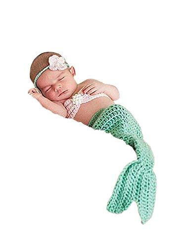 (Newborn Baby Photography Prop Handmade Crochet Mermaid Headband Bra Tail Romper Outfit (Light Blue Mermaid))