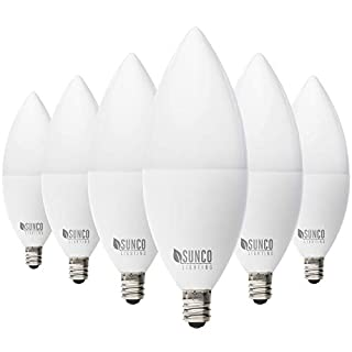 Sunco Lighting 6 Pack B11 LED Candelabra Bulb, Dusk-to-Dawn, 5W=40W, 2700K Soft White, 450 LM, E12 Base, Outdoor Decorative Light for Sconces - UL