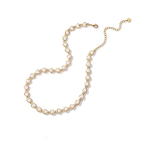 VACRONA Gold Heart Choker Necklaces,14k Gold Filled Dainty Faux Pearl Cute Heart Shaped Handmade Choker Necklaces Clavicle Chain for Girls for Womens