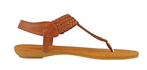 Sandals Flats Leather Women's Pierre Ankle Tan Strap Braided Dumas Lydia New Thong 4 Vegan Adjustable R7RXgPqw