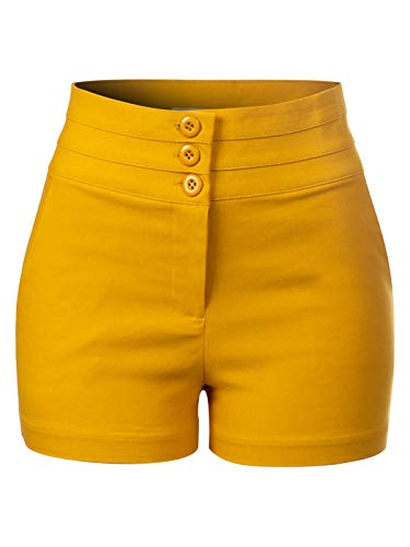 Design by Olivia Women's Triple Buttoned High Waist Shorts Mustard S