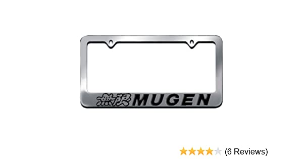 1 Silver Auteal Car Stainless Steel Metal Mugen JDM License Plate Tag Frame Cover Holders w//Caps Screws for Civic