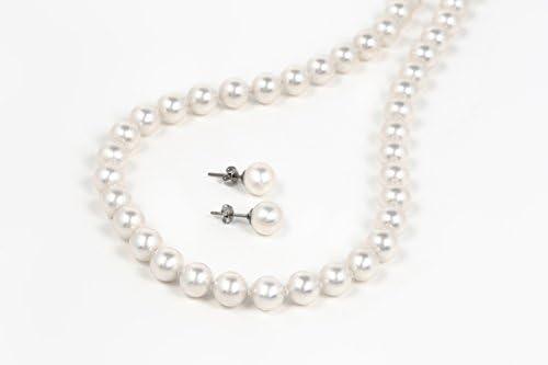 最高級磨き貝パール8mm珠 真珠 45cmネックレス セット[品質保証+無料修理付]本真珠仕様 シリコン入 (45cmピアス)