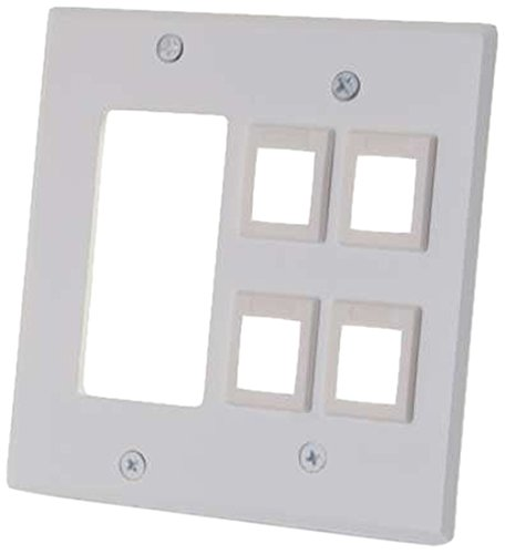 Allen Tel Insert Jack - C2G/Cables To Go  41341 Double Gang Decorative Cutout Wall plate with 4 keystones -  White