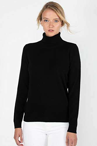 Classic Cashmere Turtleneck Sweater - JENNIE LIU Women's 100% Pure Cashmere Long Sleeve Pullover Turtleneck Sweater (S, Black)