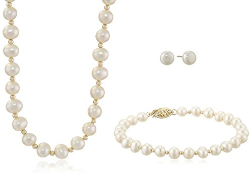14K Yellow Gold 5.5-6mm White Freshwater Cultured Pearl Necklace, Bracelet and Stud Earrings Jewelry Set