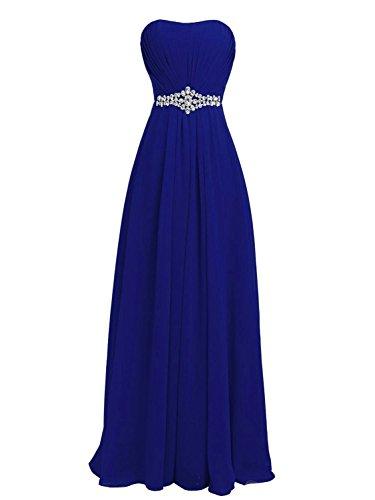 de Gasa de de Azul Vestido Sin Largo Vestidos de Baile Fiesta Vestidos Tirantes Dama Real Honor JAEDEN qCHOwY