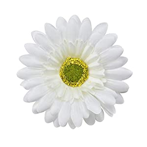 Fake flower heads in bulk wholesale for Crafts Silk Sunflower Rose Flowers Head Artificial Flowers Wedding Home Party Decoration & Wedding Car Corsage Decoration 15PCS 9.5cm (White) 20