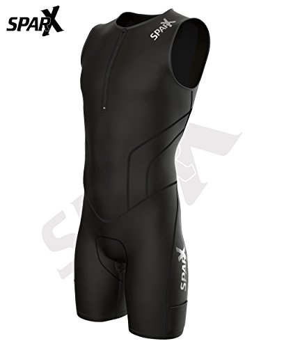 Sparx X Triathlon Suit Racing Tri Cycling Skin Suit Bike Swim Run (Black, XL) by Sparx Sports (Image #2)