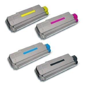 Glossy Compatible Okidata OKI C5550 C6100 Toner Cartridges Combo - 4pk (BCMY)
