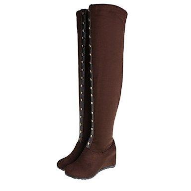 Zapatos de Mujer Otoño / invierno botas de montar / Round Toe botas de tacón de cuña de vestimenta casual / remacheNegro / Azul / Rojo / Marrón Blue