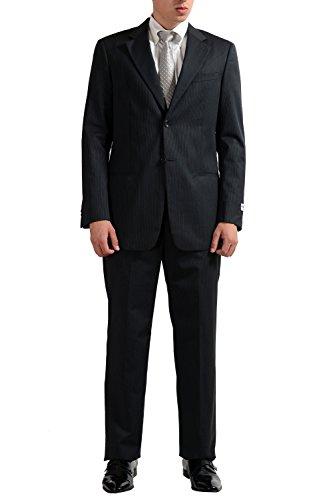 (Armani Collezioni Men's Wool Silk Striped Gray Two Button Suit US 40R IT 50R)