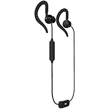 JBL Focus 500 Outdoor Activity Style Sports Soft Loop Hanger Vertical in-Ear Earbuds Bluetooth Wireless Earbud Headphones Mic Remote, Black (Non-Retail ...