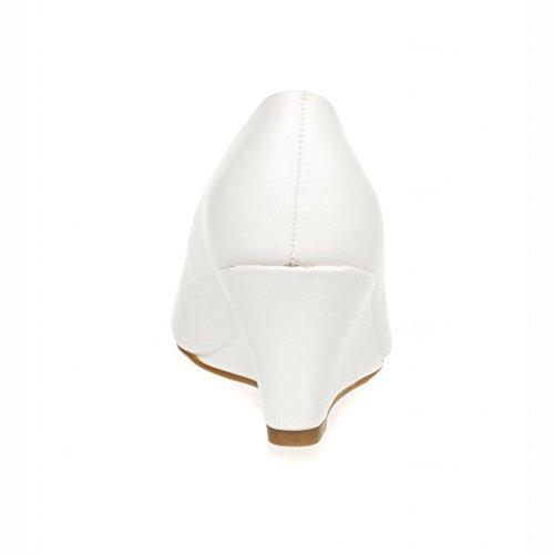 Voor Altijd Link Womens Doris-22 Patent Wedge Pumps Met Ronde Neus Wit
