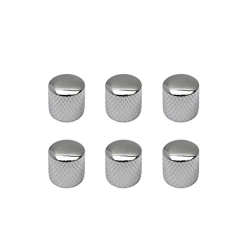 IKN 6pcs Metal Dome Knob Volume Tone Knobs for Electric Guitar Bass Part, Chrome (Best Ibanez Bass For Metal)