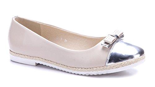 Schuhtempel24 Damen Schuhe Klassische Ballerinas Beige Flach ZfLd6