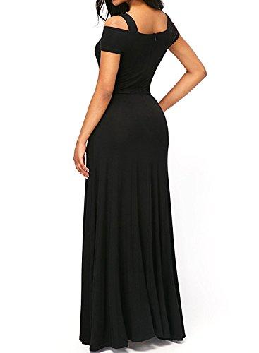 V Sexy Shoulder Sleeve Maxi Women's Cold Long Dearlove Dress Neck Black Short wX5EAnqF