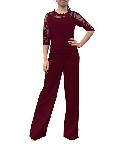 Voghtic Elegant Women Long Sleeve Lace Top and Long Pants Jumpsuit Rompers for Party (Suits Pant Ladies)