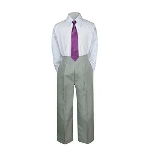 3PC Shirt Gray Pants Necktie Tie Set Baby Boy Toddler Kid Formal Suit Sm-7