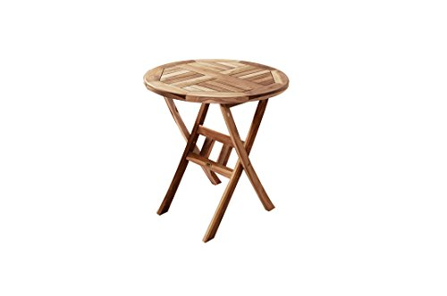 SAM® Teak-Holz Balkontisch, Gartentisch, Terrassentisch Rondo, 80 cm Durchmesser, klappbarer Tisch, platzsparend zu verstauen, ideal für Balkon, Terrasse oder Garten