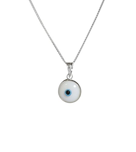 MIZZE Made for Luck Silver Evil Eye Necklace with White Glass Evil Eye Protection Charm - 925 Sterling Silver 19 Inch Box Chain
