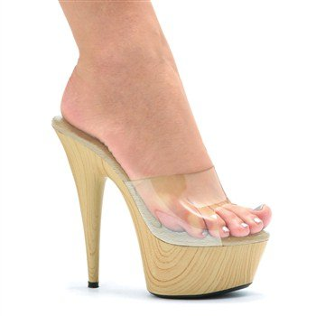 - Ellie Shoes Mya 6 Inch Wood Stiletto Platform Slip On Mule Heel (Clear;8)