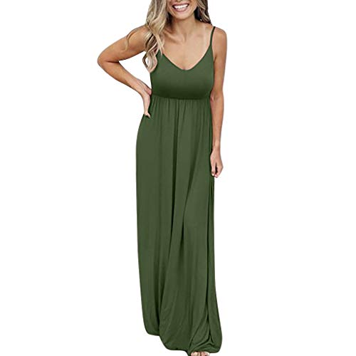 peacur Women Sleeveless Dresses Fashion Causal Solid Color Holiday Beach Party Maxi Dress Green