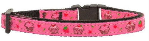 Cupcakes Nylon Ribbon Collar Bright Pink Cat Safety Case Pack 24 Cupcakes Nyl...