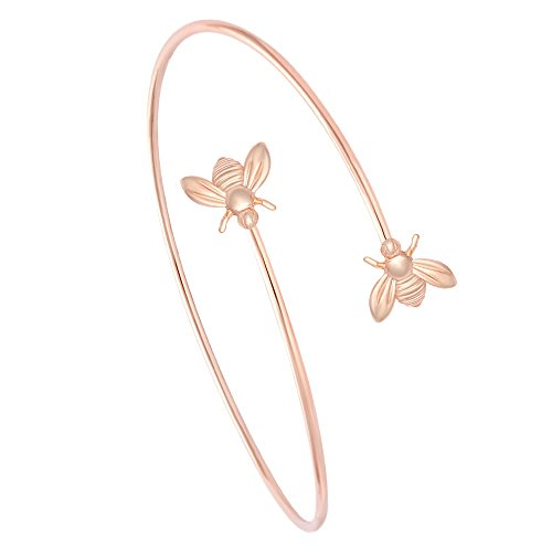 MANZHEN Adjustable Tiny Bumble Bee Queen Bee Cuff Wire Wrapped Bangle Bracelet Insect Jewelry (Rose Gold) (Cuff Wire)