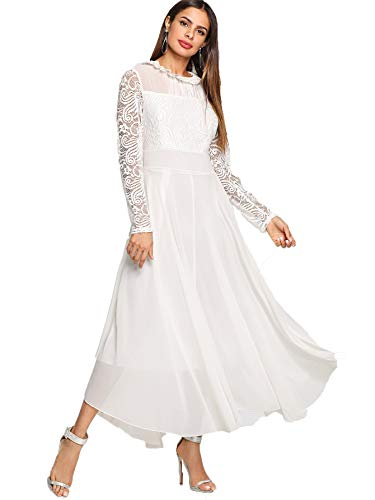 Milumia Women's Vintage Floral Lace Long Sleeve Ruched Neck Flowy Long Dress White S