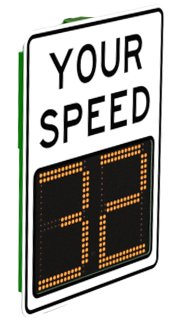12'' Value Portable Radar Speed Traffic Sign w/30Ah Battery & AC Charger, White Reflective Sign Face