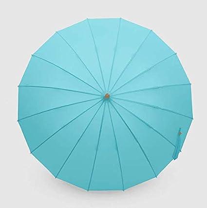 ZZSIccc Bend the Ganchos mango de bambú, intensifica el viento doble paraguas de color sólido