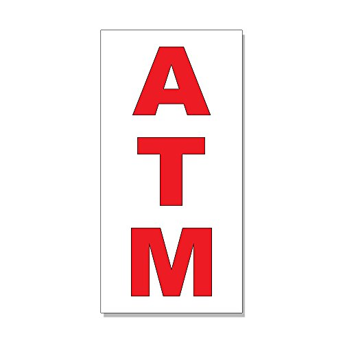Atm Red DECAL STICKER Retail Store Sign - 4.5 x 12 inches
