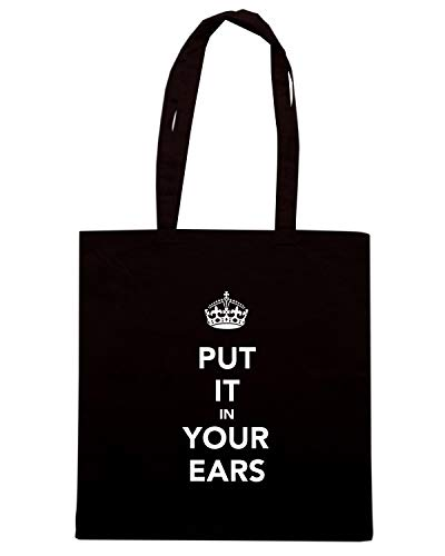 Speed Shirt Borsa Shopper Nera TKC0963 KEEP CALM AND PUT IT IN YOUR EARS