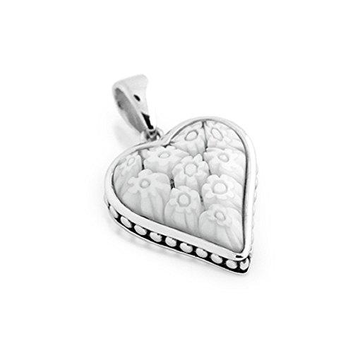 CloseoutWarehouse White Murano Millefiori Beaded Heart Pendant Rhodium Plated Sterling Silver