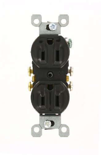 (Leviton 5320-ECP 15 Amp, 125 Volt, Duplex Receptacle, Residential Grade, Grounding, All Screws Backed Out, Single Unit, Black)