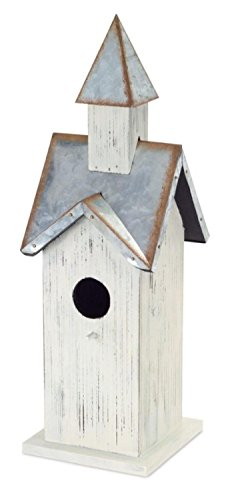 Pack of 2 Country Rustic Cream and Rust Accented Metal Birdhouse ()
