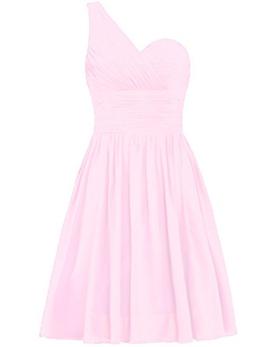 Dresses Bridesmaid Short Gowns Prom Shoulder Wedding Party Cdress One Pink Chiffon RYwwIp