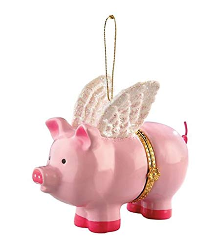 When Pigs Fly Pink Porcelain Opening Christmas Ornament.Doubles as Money,Check,Note,or Medication Holder.Opens with Heart Closure.Collectible & Perfect for Fantasy Lovers