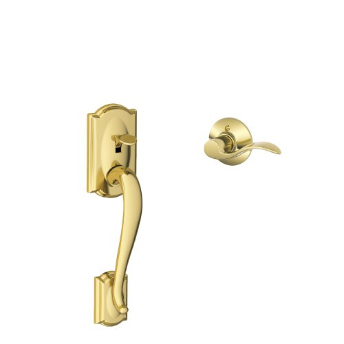 - Schlage Lock Company Camelot Front Entry Handle Accent Left-Handed Interior Lever (Bright Brass) FE285 CAM 505 ACC 605 LH