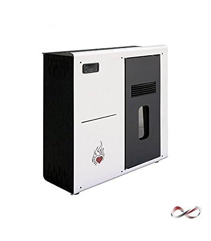 Estufa a PELLAS Corazón cálido de Slim 8 kW Blanca